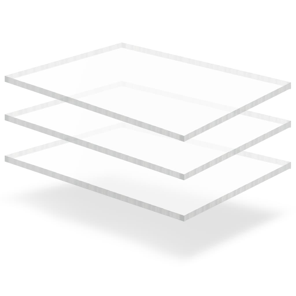 Průsvitné desky z akrylátového skla 3 ks 60 x 80 cm 15 mm