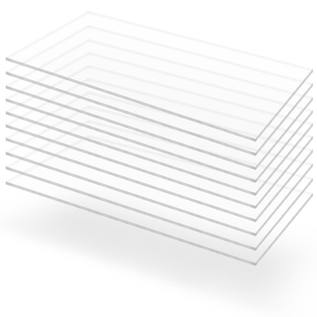 Průsvitné desky z akrylátového skla 10 ks 60 x 120 cm 3 mm
