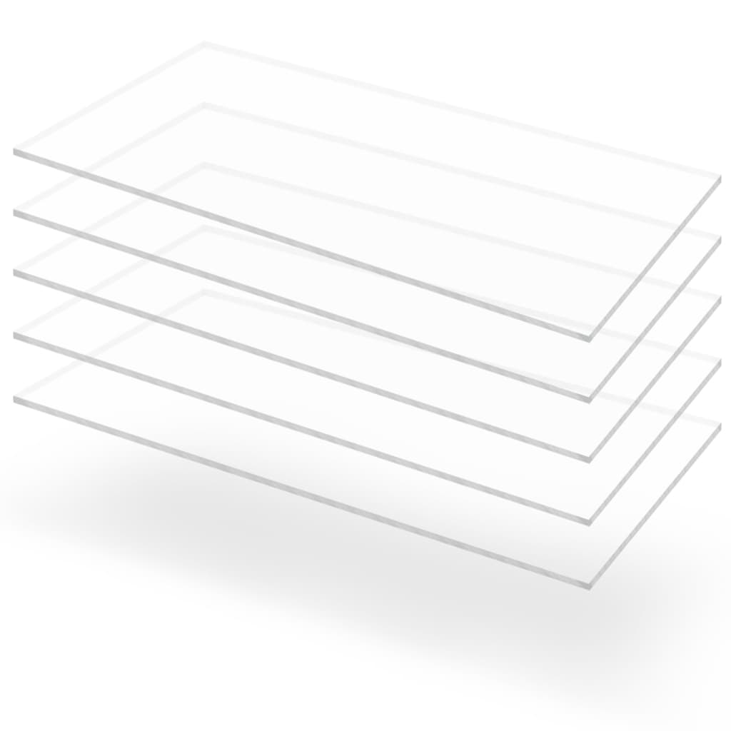 Průsvitné desky z akrylátového skla 5 ks 60 x 120 cm 3 mm