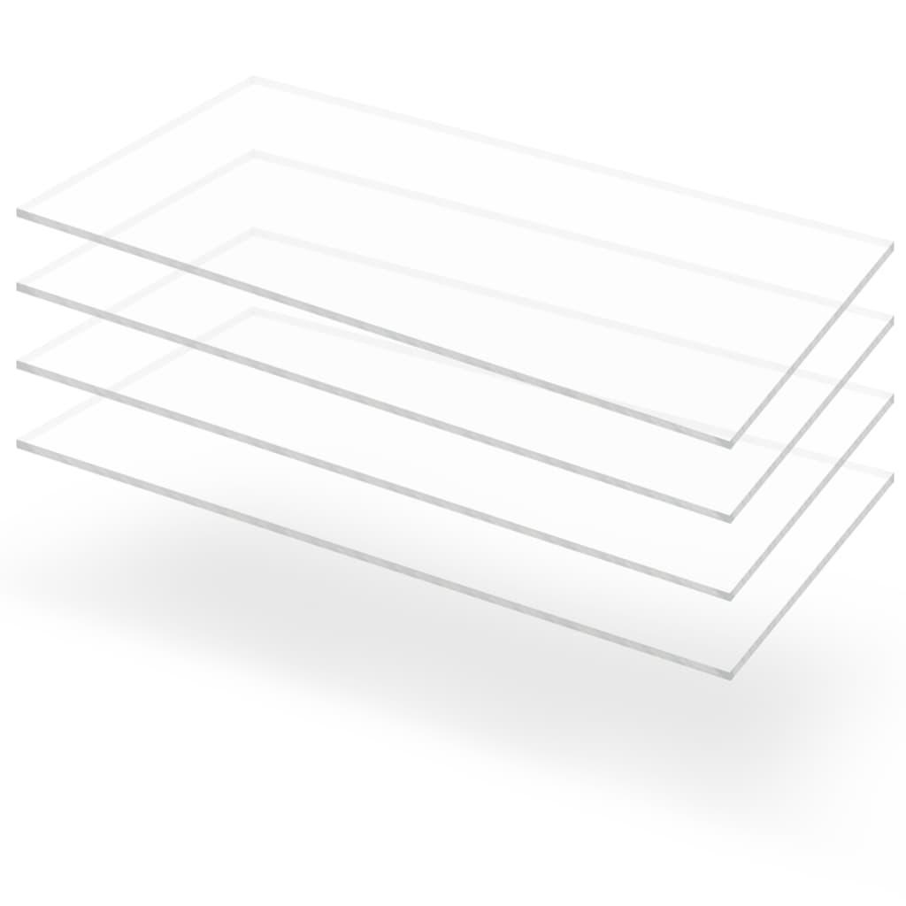 Průsvitné desky z akrylátového skla 4 ks 60 x 120 cm 4 mm