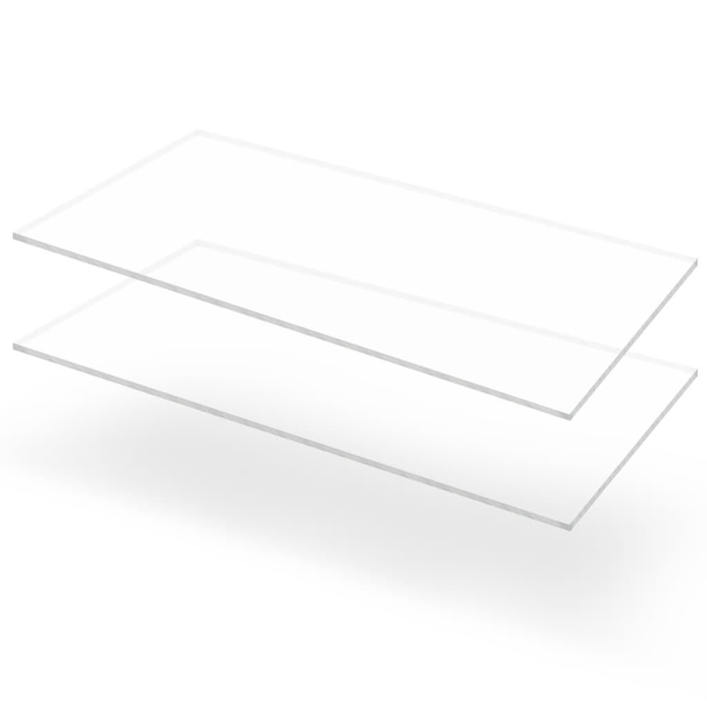vidaXL Plăci sticlă acrilică transparentă, 2 buc., 60 x 120 cm, 10 mm vidaxl.ro