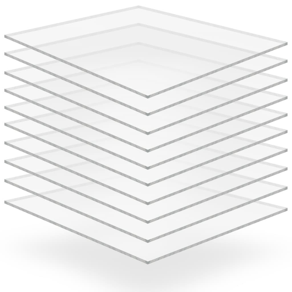 vidaXL Plăci din sticlă acrilică 10 buc., 40 x 60 cm, 2 mm vidaxl.ro