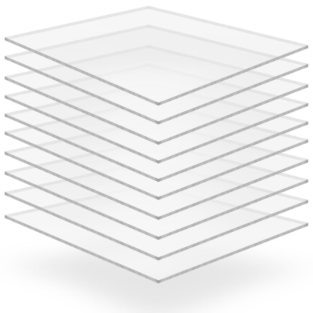 vidaXL Plăci din sticlă acrilică transparentă, 10 buc., 40x60 cm, 3 mm vidaxl.ro
