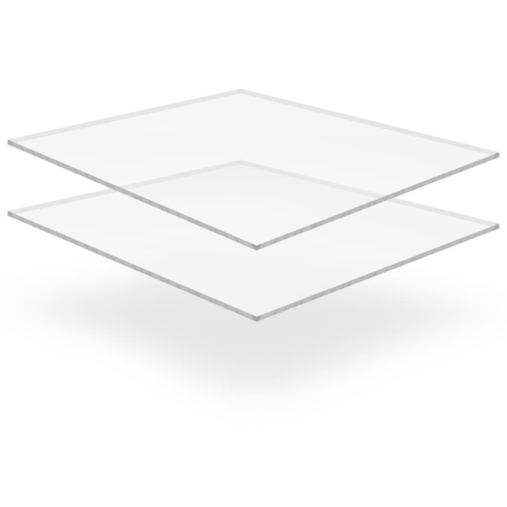 vidaXL Plăci sticlă acrilică transparentă, 2 buc., 40 x 60 cm, 10 mm vidaxl.ro