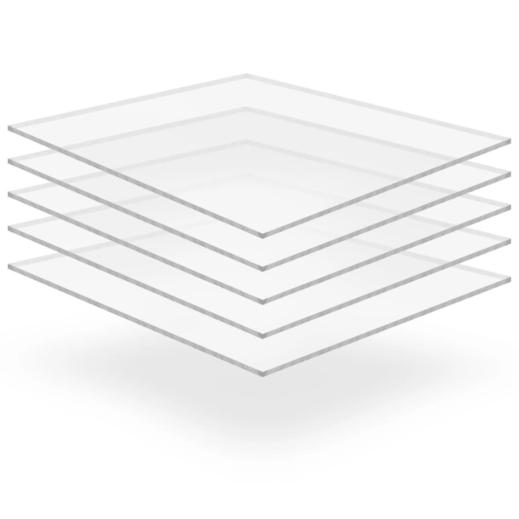 vidaXL Plăci sticlă acrilică transparentă, 5 buc., 40 x 60 cm, 10 mm vidaxl.ro