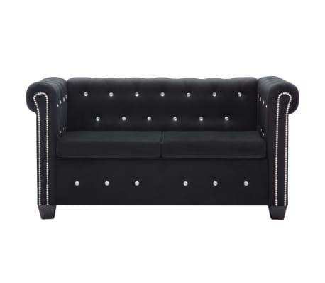 vidaXL Dvivietė sofa, aksominis apmušalas, 146x75x72cm, juoda[2/11]