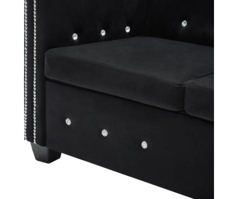 vidaXL Dvivietė sofa, aksominis apmušalas, 146x75x72cm, juoda[7/11]