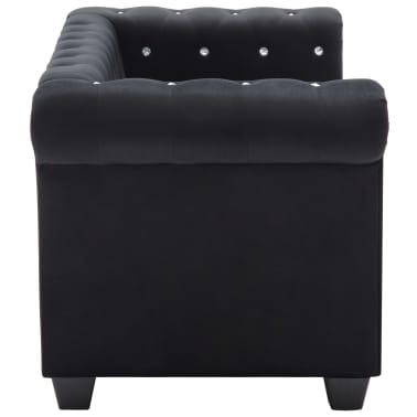 vidaXL Dvivietė sofa, aksominis apmušalas, 146x75x72cm, juoda[3/11]