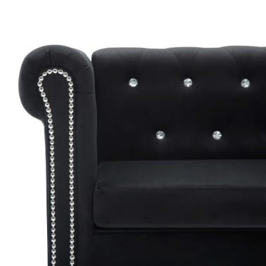 vidaXL Dvivietė sofa, aksominis apmušalas, 146x75x72cm, juoda[5/11]