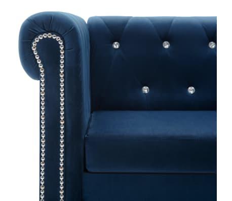 Vidaxl divano chesterfield a 3 posti in velluto 199x75x72 cm blu - Divano velluto blu ...