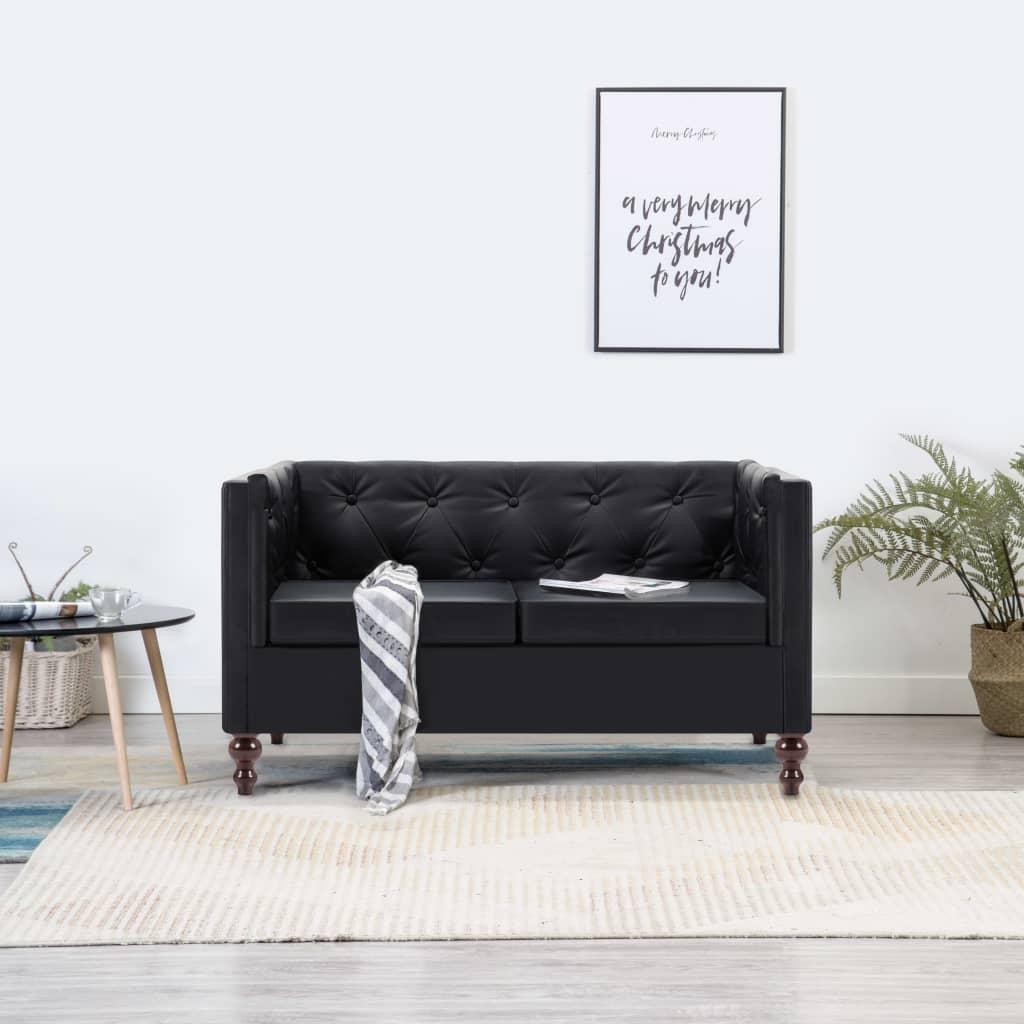 vidaXL Sofa 2-osobowa w stylu Chesterfield, sztuczna skóra, czarna