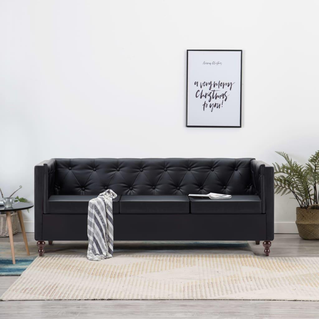 vidaXL Sofa 3-osobowa w stylu Chesterfield, sztuczna skóra, czarna