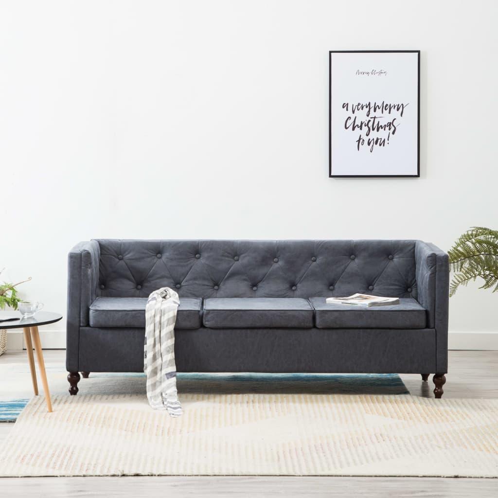 vidaXL Sofa 3-osobowa w stylu Chesterfield, tkanina, szara