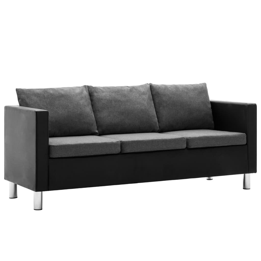 vidaXL 3-personers sofa kunstlæder sort og lysegrå