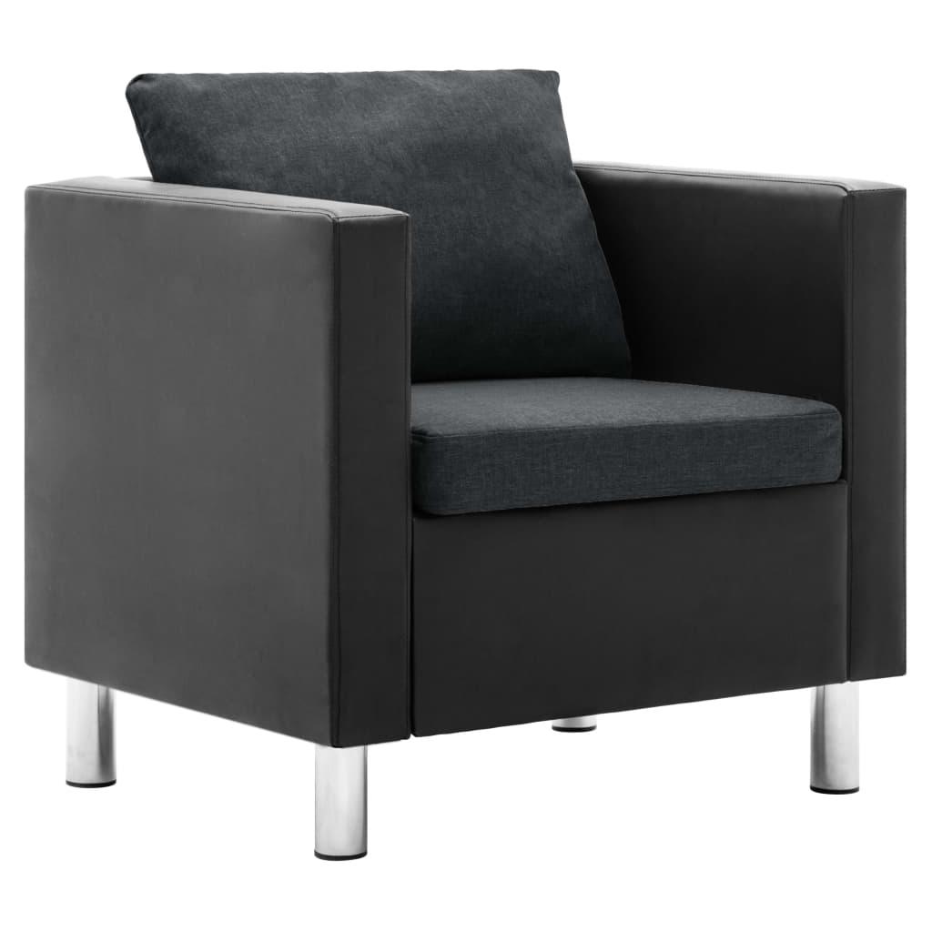 vidaXL Fotel, czerń i ciemnoszary, sztuczna skóra