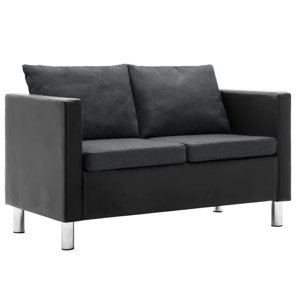 Canapé droit 2 places Noir Tissu Pas cher Moderne Confort