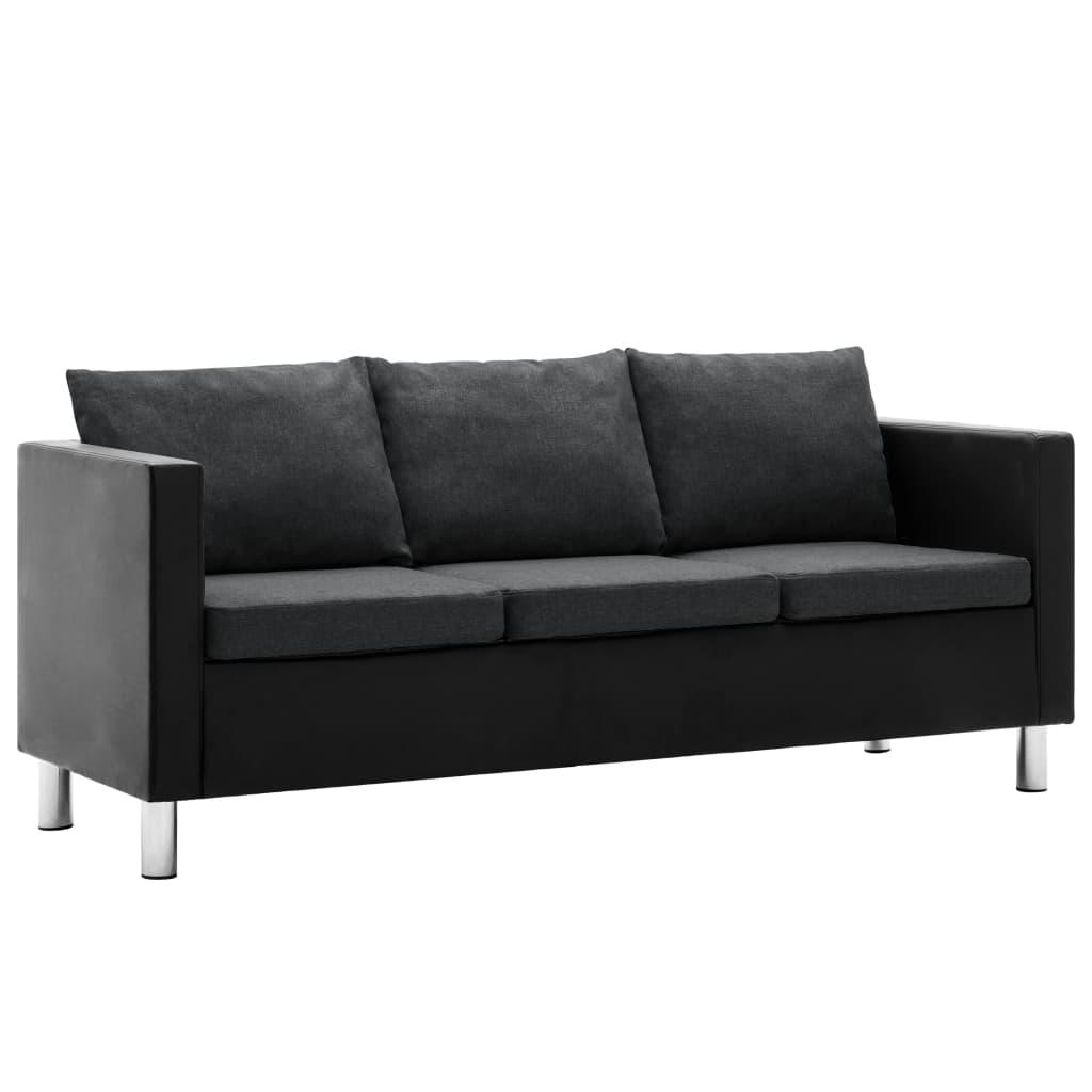 vidaXL Καναπές Τριθέσιος Μαύρο / Σκούρο Γκρι από Συνθετικό Δέρμα