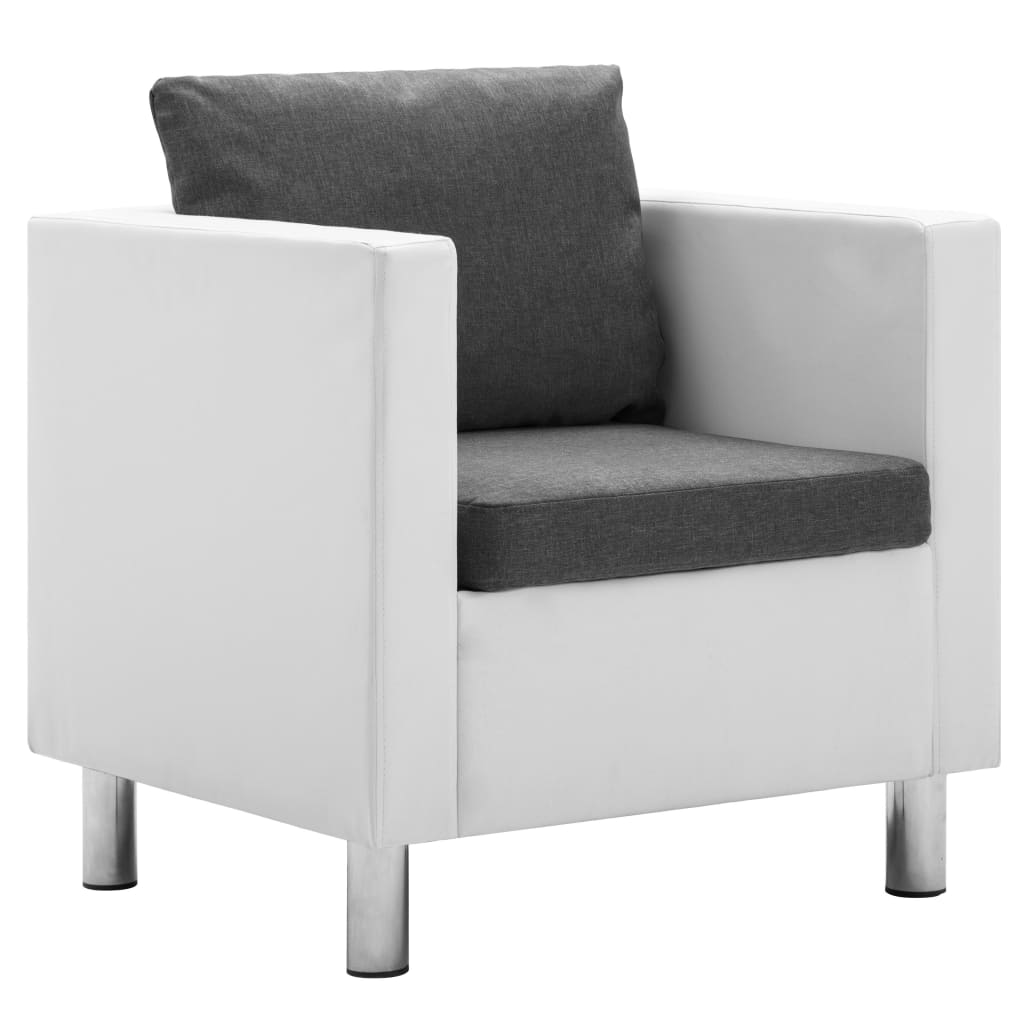 vidaXL Πολυθρόνα Λευκό / Ανοιχτό Γκρι από Συνθετικό Δέρμα
