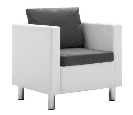 vidaXL Fåtölj vit och ljusgrå konstläder