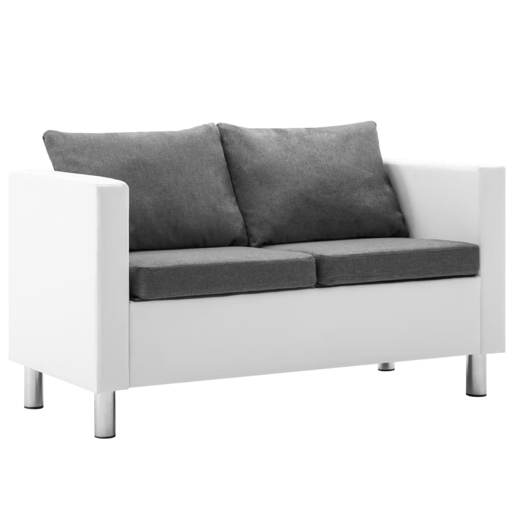 Canapé 2 places Blanc Tissu Moderne Confort