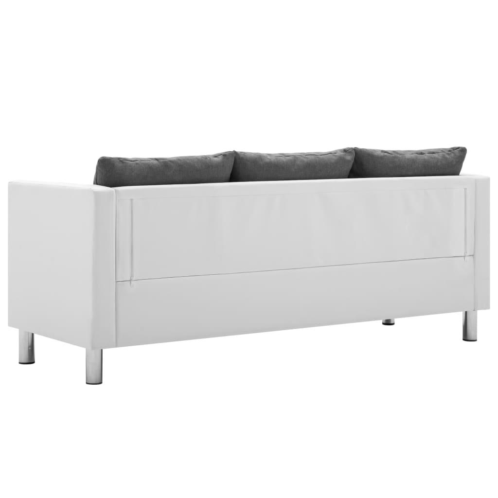 vidaXL Driezitsbank kunstleer wit en lichtgrijs