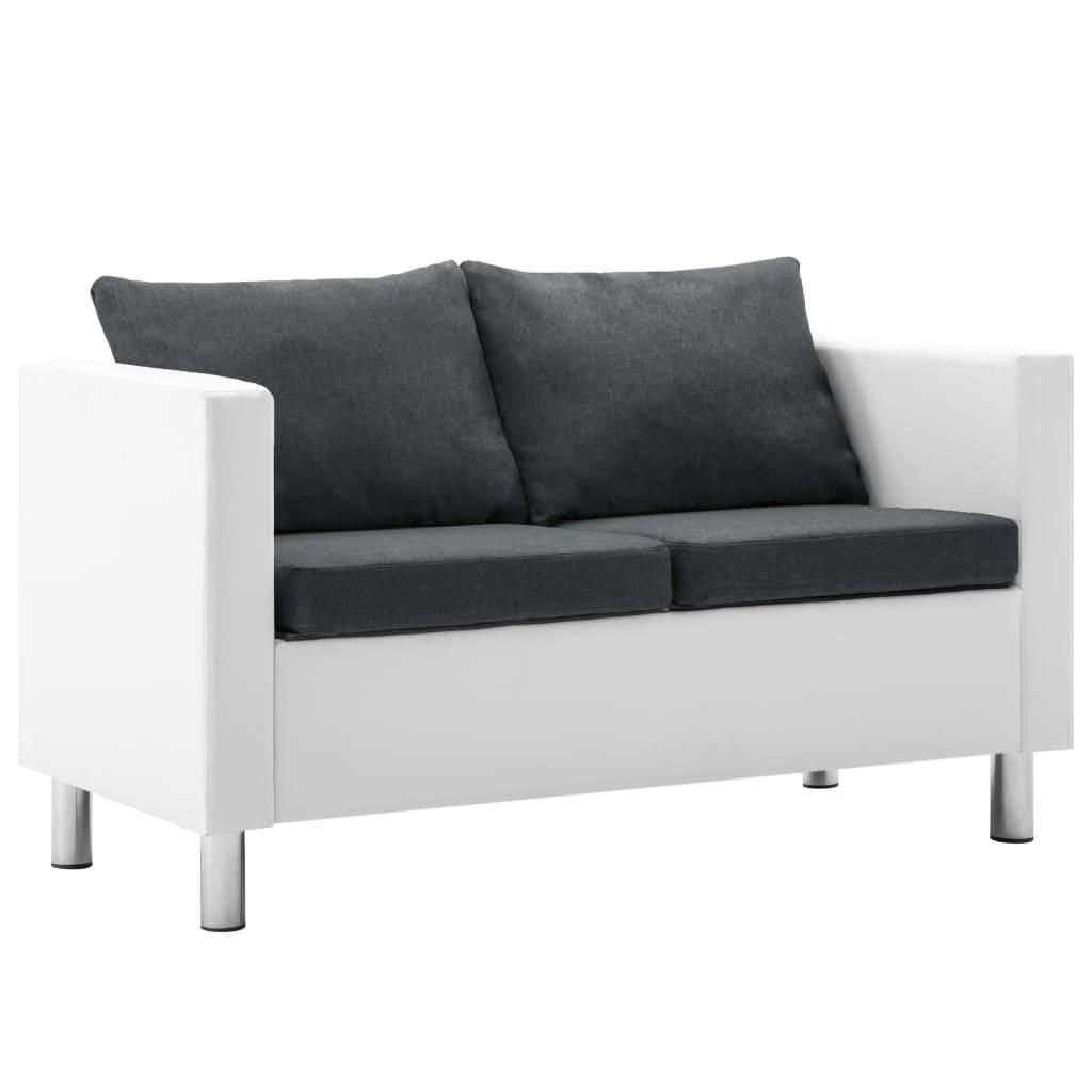 vidaXL, Canapea cu 2 locuri, piele ecologică, alb și gri închis poza 2021 vidaXL