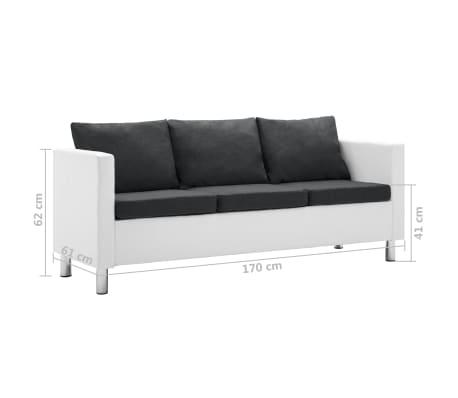 Vidaxl 3 Sitzer Sofa Kunstleder Weiss Und Dunkelgrau Gunstig Kaufen
