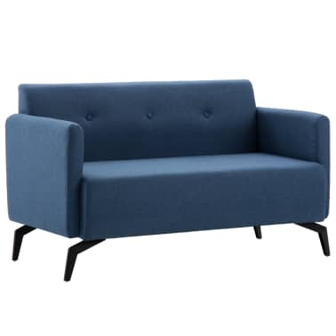 vidaXL 2-Sitzer-Sofa Stoffbezug 115 x 60 x 67 cm Blau[1/9]