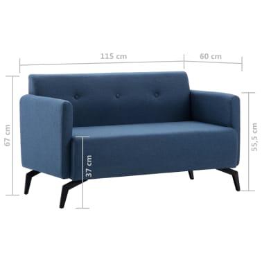 vidaXL 2-Sitzer-Sofa Stoffbezug 115 x 60 x 67 cm Blau[9/9]