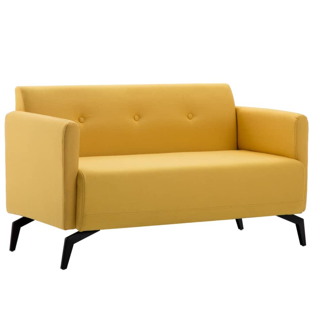 vidaXL 2-osobowa sofa tapicerowana tkaniną, 115x60x67 cm, żółta