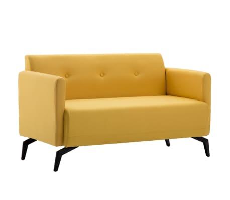 vidaXL Tweezitsbank 115x60x67 cm stof geel[1/9]