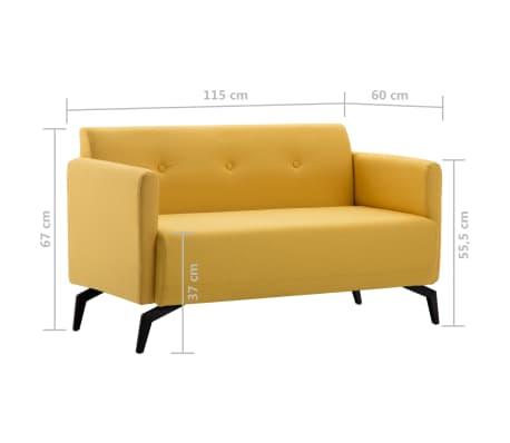 vidaXL Tweezitsbank 115x60x67 cm stof geel[9/9]