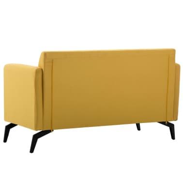 vidaXL Tweezitsbank 115x60x67 cm stof geel[4/9]