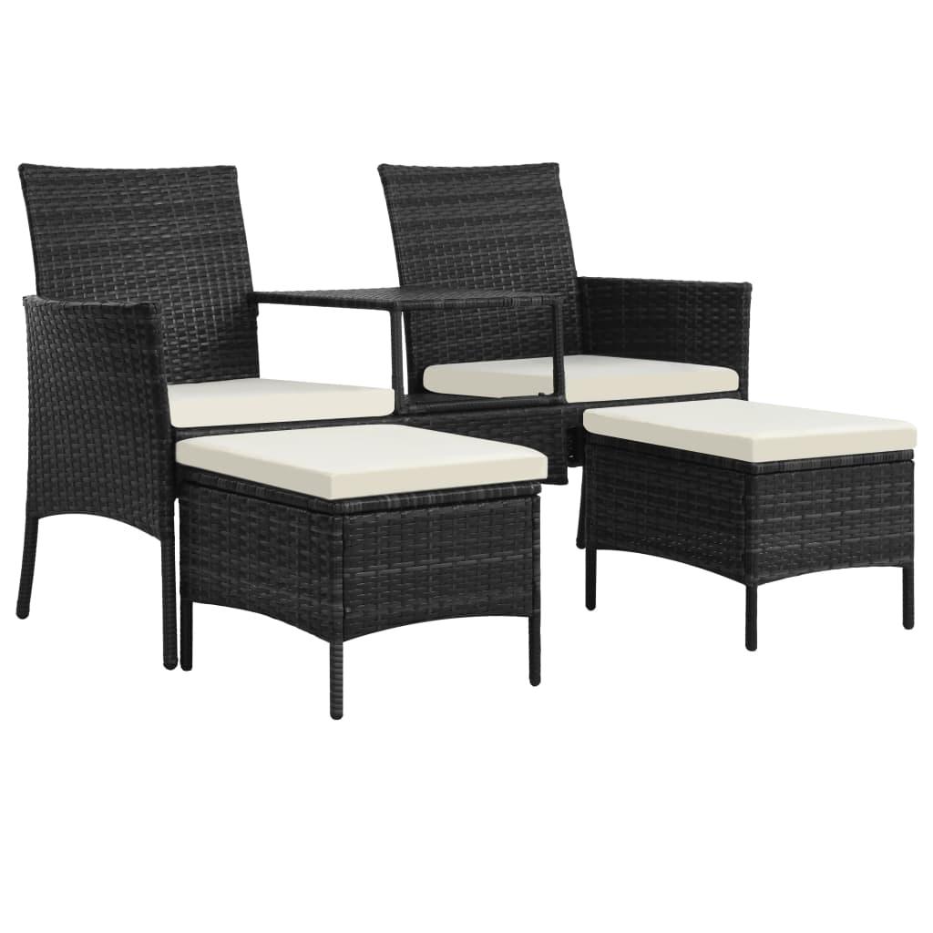 vidaXL Canapea grădină cu 2 locuri cu masă & taburete, negru poliratan poza vidaxl.ro