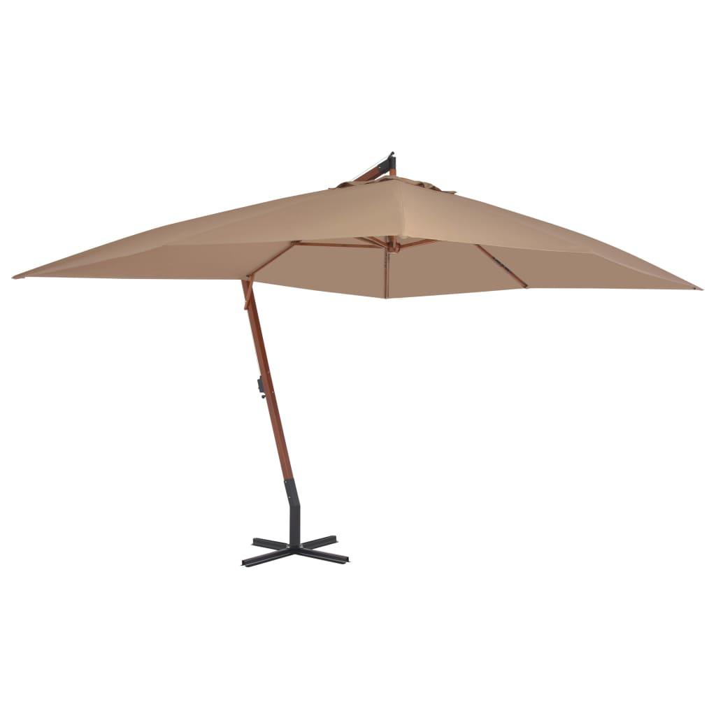 vidaXL Umbrelă suspendată cu stâlp din lemn, gri taupe, 400 x 300 cm poza 2021 vidaXL