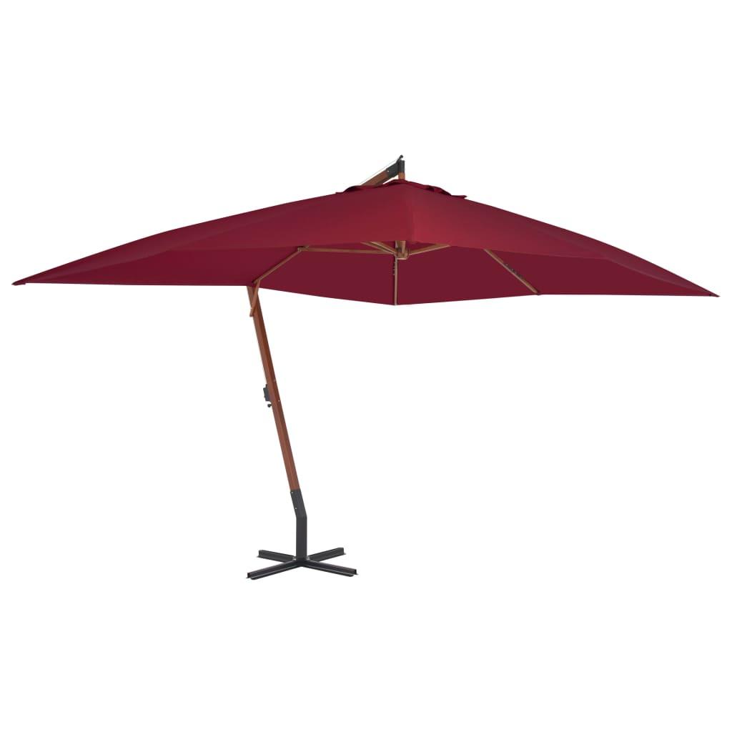 vidaXL Umbrelă suspendată cu stâlp din lemn, roșu bordo, 400x300 cm poza 2021 vidaXL