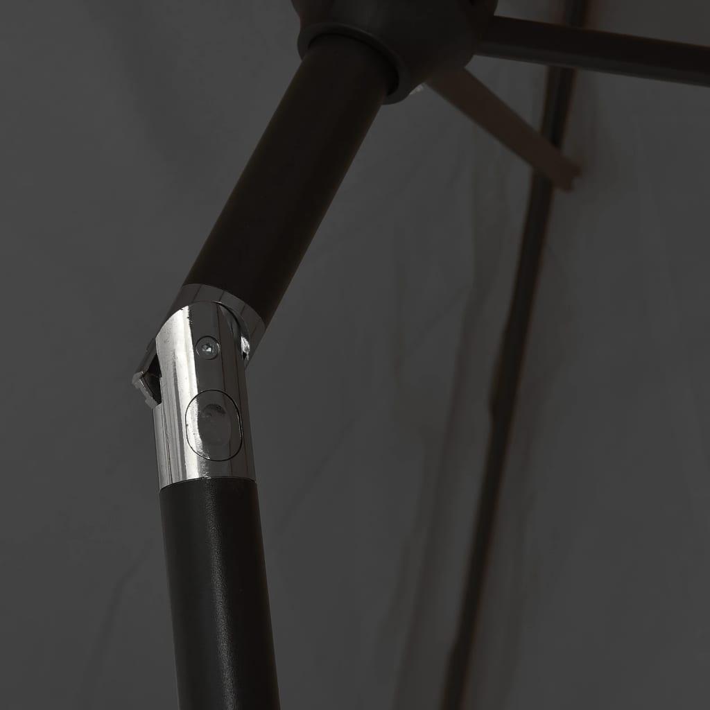 Parasol met LED-verlichting en stalen paal 300 cm antraciet