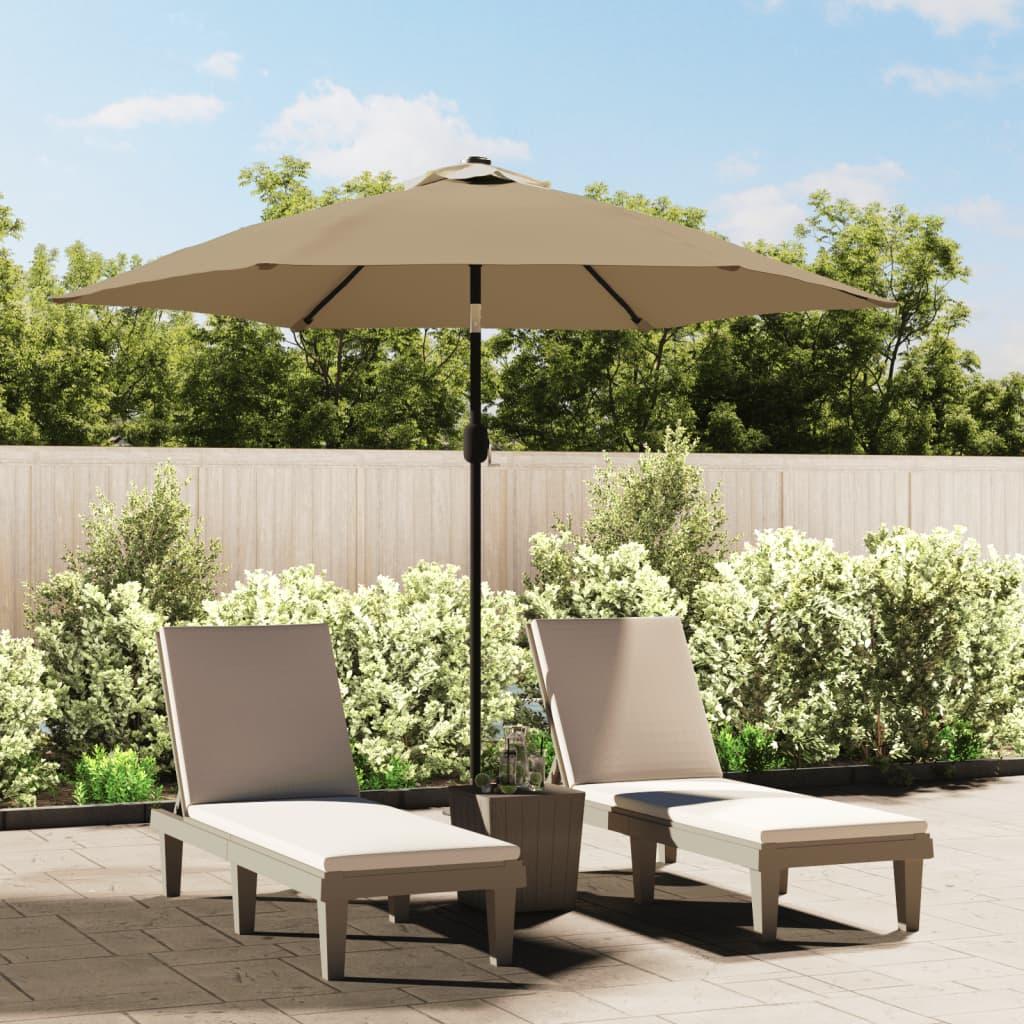 Parasol met LED-verlichting en stalen paal 300 cm taupe