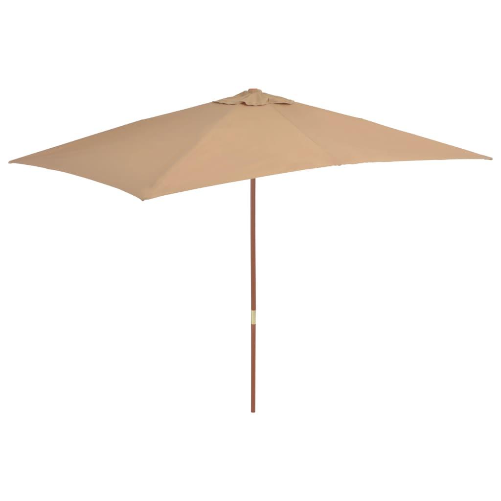 vidaXL Parasol met houten paal 200x300 cm taupe