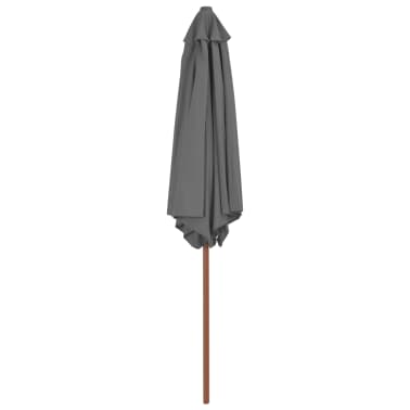 vidaXL Outdoor Parasol with Wooden Pole 270 cm Anthracite[3/6]