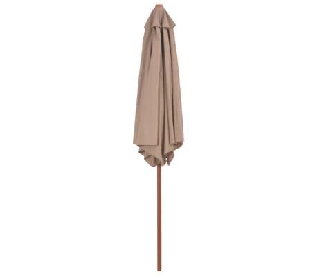 vidaXL Parasol avec mât en bois 270 cm Taupe[3/6]