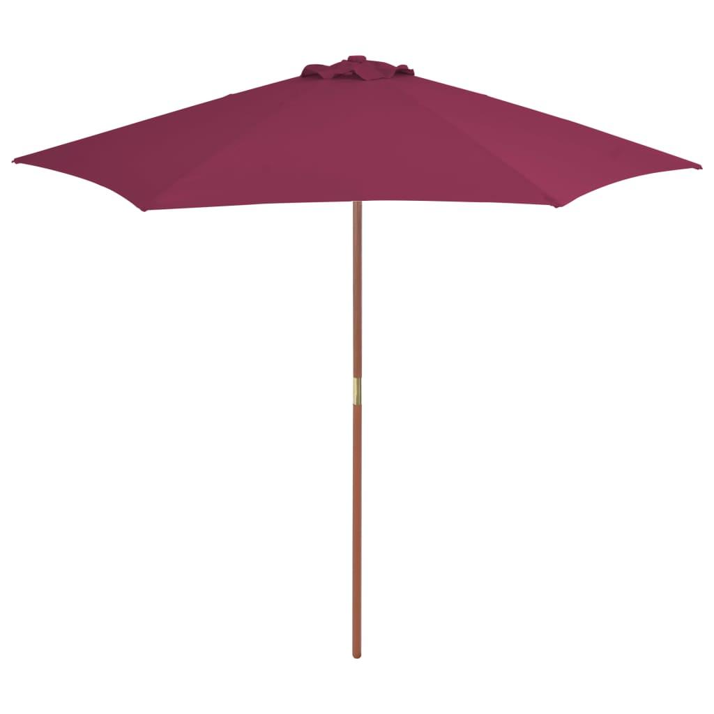 vidaXL Umbrelă de soare de exterior, stâlp lemn, roșu bordo, 270 cm vidaxl.ro