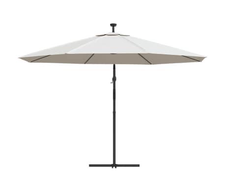 vidaXL Ampelschirm mit LED-Leuchten und Metall-Mast 350 cm Sandfarben[6/9]