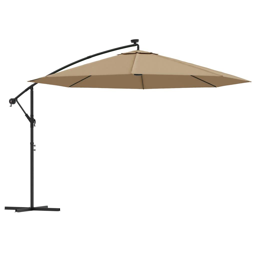 vidaXL Umbrelă de consolă cu LED și stâlp de metal, gri taupe, 350 cm poza 2021 vidaXL