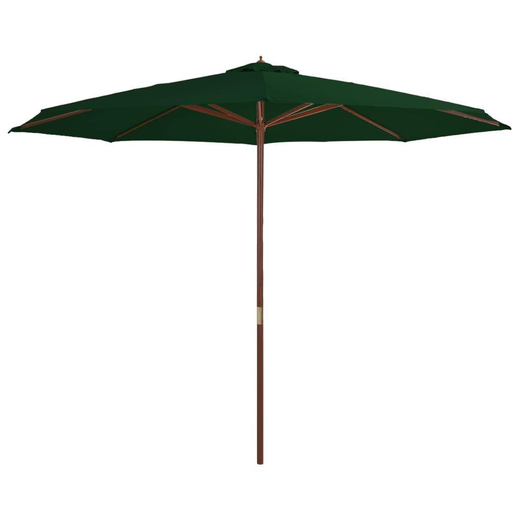 vidaXL Parasol met houten paal 350 cm groen