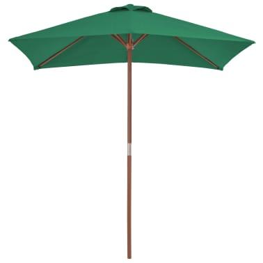 vidaXL Sonnenschirm mit Holzmast 150 x 200 cm Grün[2/8]