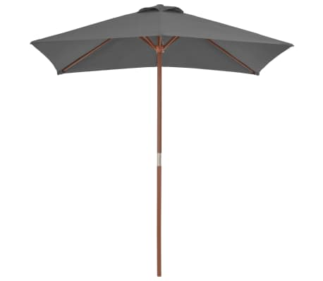 vidaXL Parasol avec mât en bois 150 x 200 cm Anthracite[2/8]