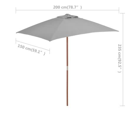 vidaXL Parasol avec mât en bois 150 x 200 cm Anthracite[8/8]