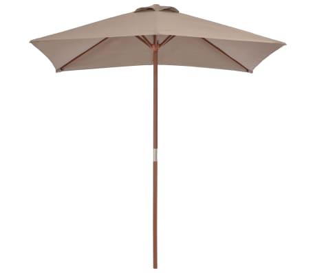 vidaXL Sonnenschirm mit Holzmast 150 x 200 cm Taupe[2/8]