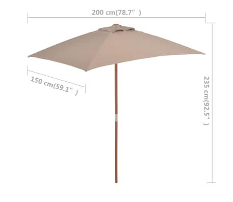 vidaXL Sonnenschirm mit Holzmast 150 x 200 cm Taupe[8/8]